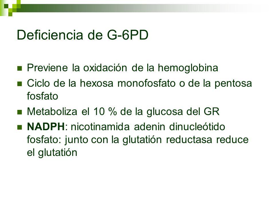Deficiencia de G-6PD Anemia hemolítica crónica, Coombs negativa, con electroforésis de hemoglobina normal.