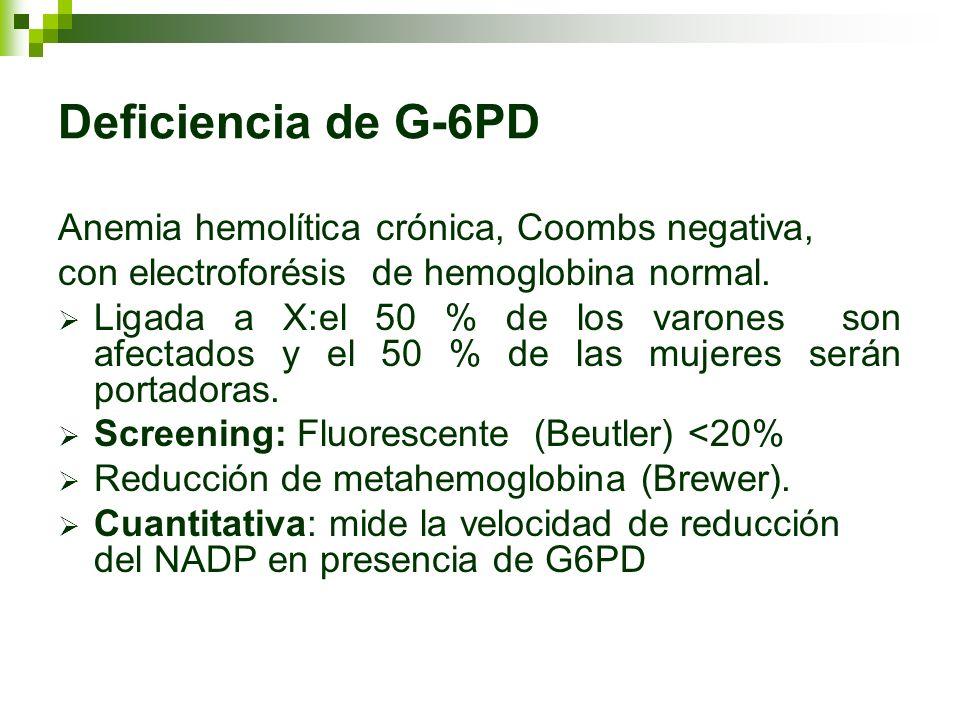 Deficiencia de G-6PD Anemia hemolítica crónica, Coombs negativa, con electroforésis de hemoglobina normal. Ligada a X:el 50 % de los varones son afect