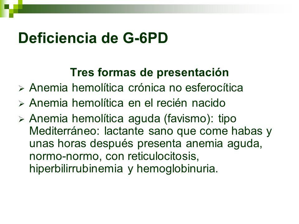 Deficiencia de G-6PD Tres formas de presentación Anemia hemolítica crónica no esferocítica Anemia hemolítica en el recién nacido Anemia hemolítica agu