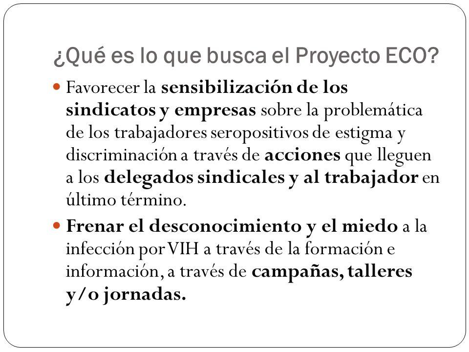 ¿Qué es lo que busca el Proyecto ECO.Crear relaciones de cooperación con sindicatos, empresas...