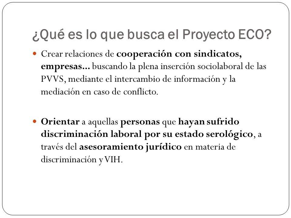 ¿Qué es lo que busca el Proyecto ECO? Crear relaciones de cooperación con sindicatos, empresas... buscando la plena inserción sociolaboral de las PVVS