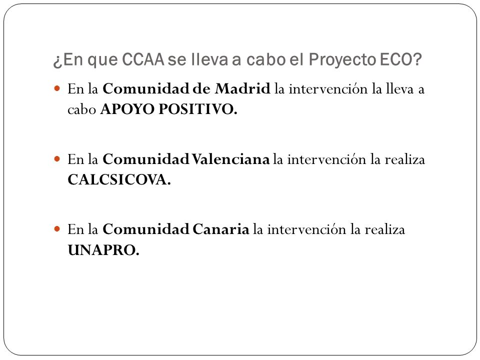 ¿Qué es lo que ofrece el Proyecto ECO.