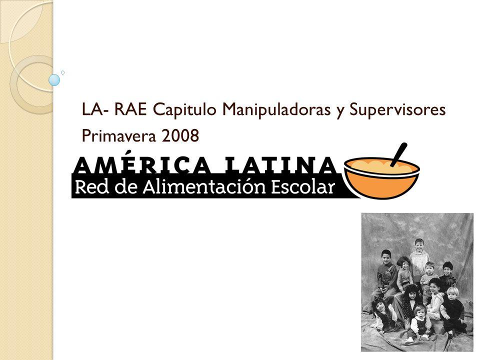 Que es LA-RAE La Red Latinoamericana de Alimentación Escolar (LA-RAE) es un organismo sin fines de lucro, que convoca a todos los responsables de Programas de Alimentación Escolar e Institucional en el continente; siendo su principal objetivo : contribuir a mejorar estos programas en todos sus aspectos y estamentos.