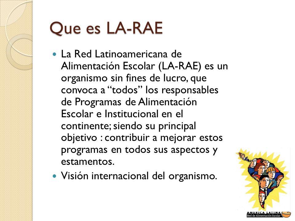 Que es LA-RAE La Red Latinoamericana de Alimentación Escolar (LA-RAE) es un organismo sin fines de lucro, que convoca a todos los responsables de Prog