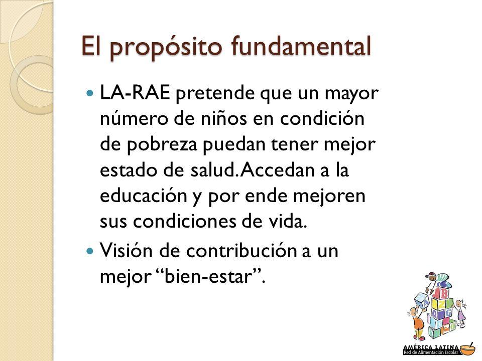 El propósito fundamental LA-RAE pretende que un mayor número de niños en condición de pobreza puedan tener mejor estado de salud. Accedan a la educaci