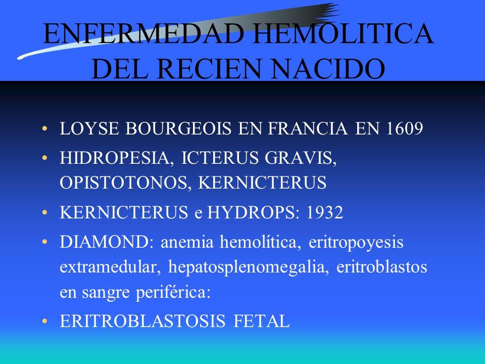 ENFERMEDAD HEMOLITICA DEL RECIEN NACIDO LOYSE BOURGEOIS EN FRANCIA EN 1609 HIDROPESIA, ICTERUS GRAVIS, OPISTOTONOS, KERNICTERUS KERNICTERUS e HYDROPS: