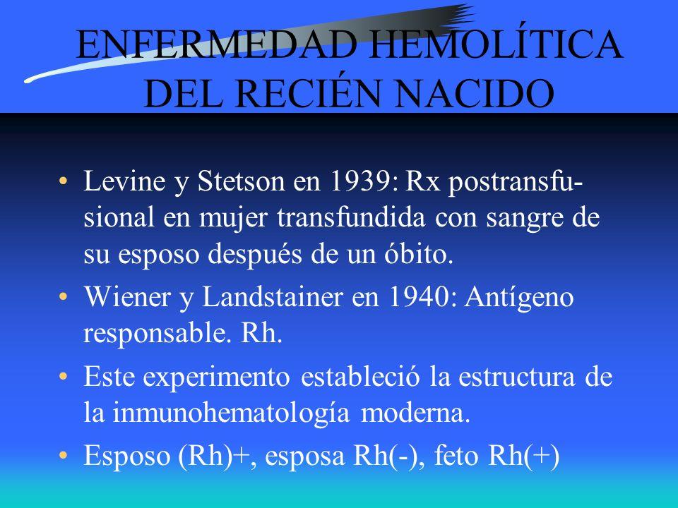 ENFERMEDAD HEMOLÍTICA DEL RECIÉN NACIDO Levine y Stetson en 1939: Rx postransfu- sional en mujer transfundida con sangre de su esposo después de un ób