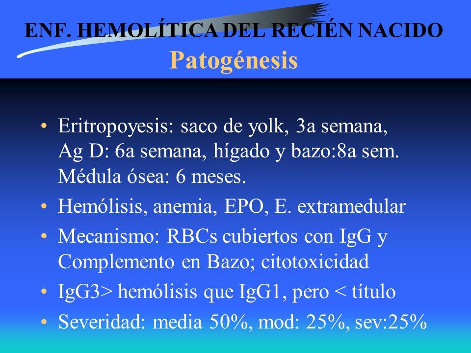 ENF. HEMOLÍTICA DEL RECIÉN NACIDO Patogénesis Eritropoyesis: saco de yolk, 3a semana, Ag D: 6a semana, hígado y bazo:8a sem. Médula ósea: 6 meses. Hem