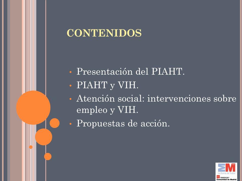 CONTENIDOS Presentación del PIAHT. PIAHT y VIH. Atención social: intervenciones sobre empleo y VIH. Propuestas de acción.
