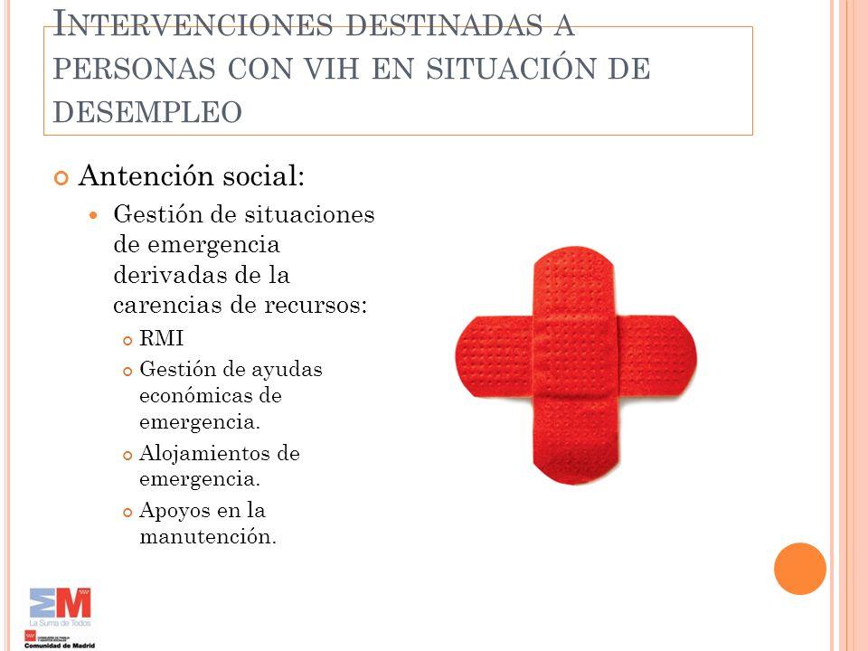 I NTERVENCIONES DESTINADAS A PERSONAS CON VIH EN SITUACIÓN DE DESEMPLEO Antención social: Gestión de situaciones de emergencia derivadas de la carenci