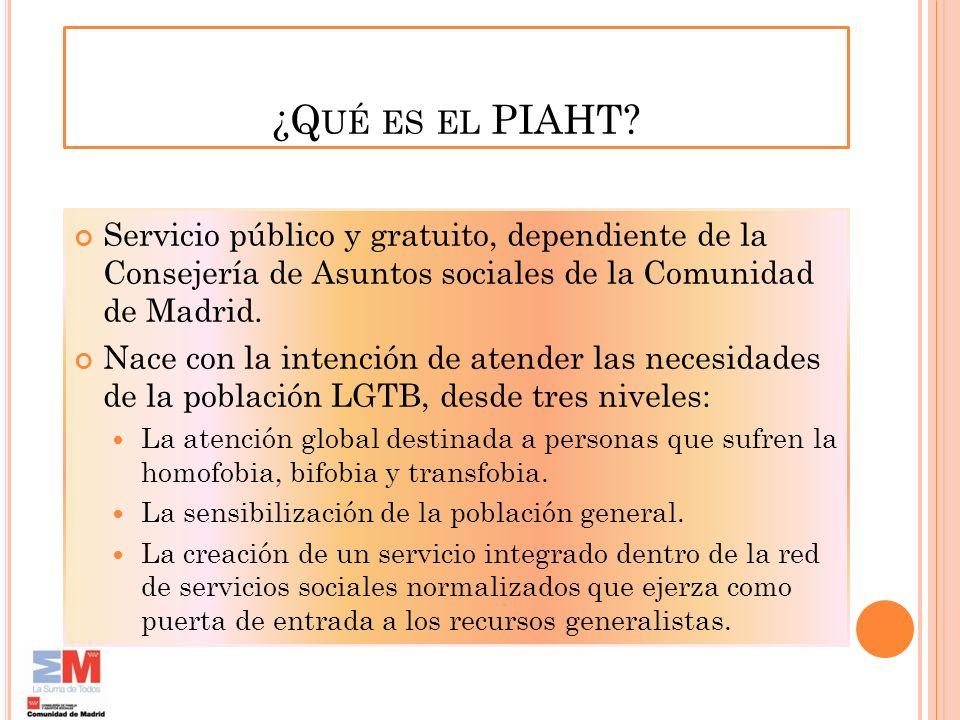 ¿Q UÉ ES EL PIAHT? Servicio público y gratuito, dependiente de la Consejería de Asuntos sociales de la Comunidad de Madrid. Nace con la intención de a