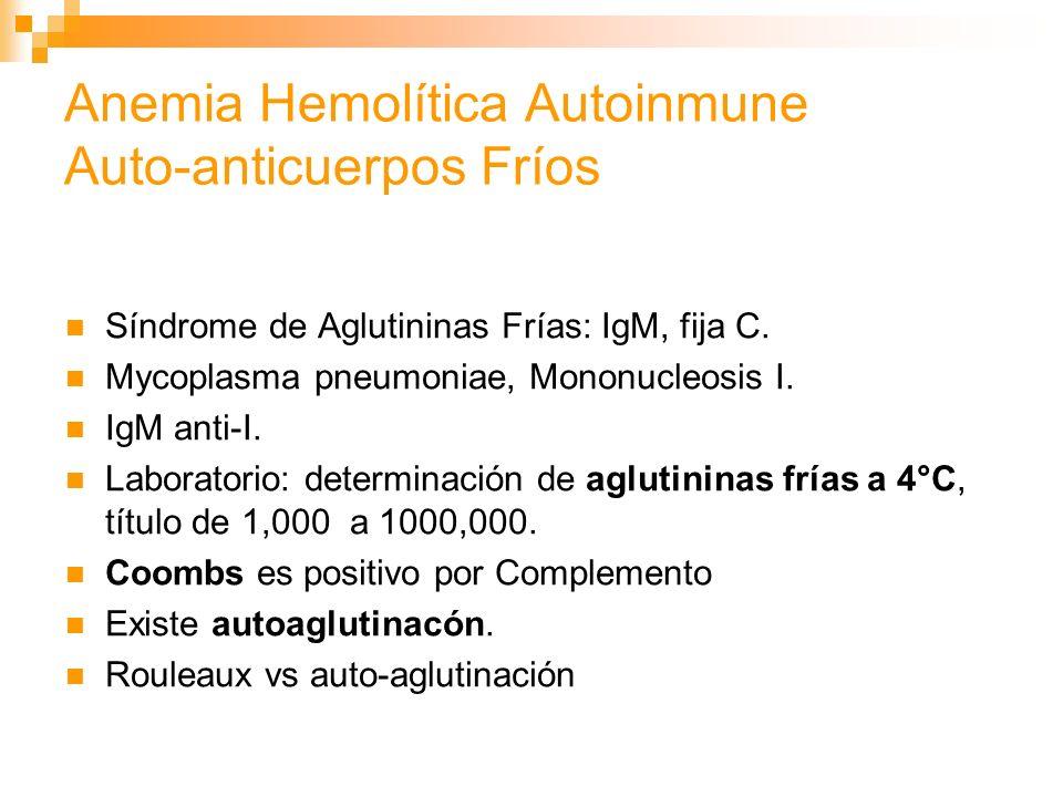 Anemia Hemolítica Autoinmune Auto-anticuerpos Fríos Síndrome de Aglutininas Frías: IgM, fija C.