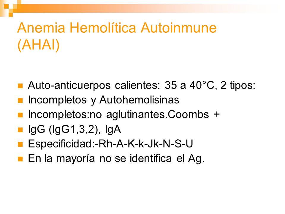 Anemia Hemolítica Autoinmune (AHAI) Auto-anticuerpos calientes: 35 a 40°C, 2 tipos: Incompletos y Autohemolisinas Incompletos:no aglutinantes.Coombs + IgG (IgG1,3,2), IgA Especificidad:-Rh-A-K-k-Jk-N-S-U En la mayoría no se identifica el Ag.