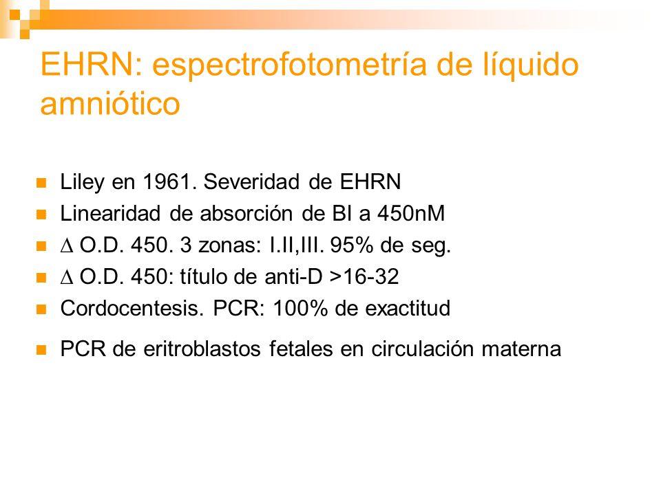 EHRN: espectrofotometría de líquido amniótico Liley en 1961.
