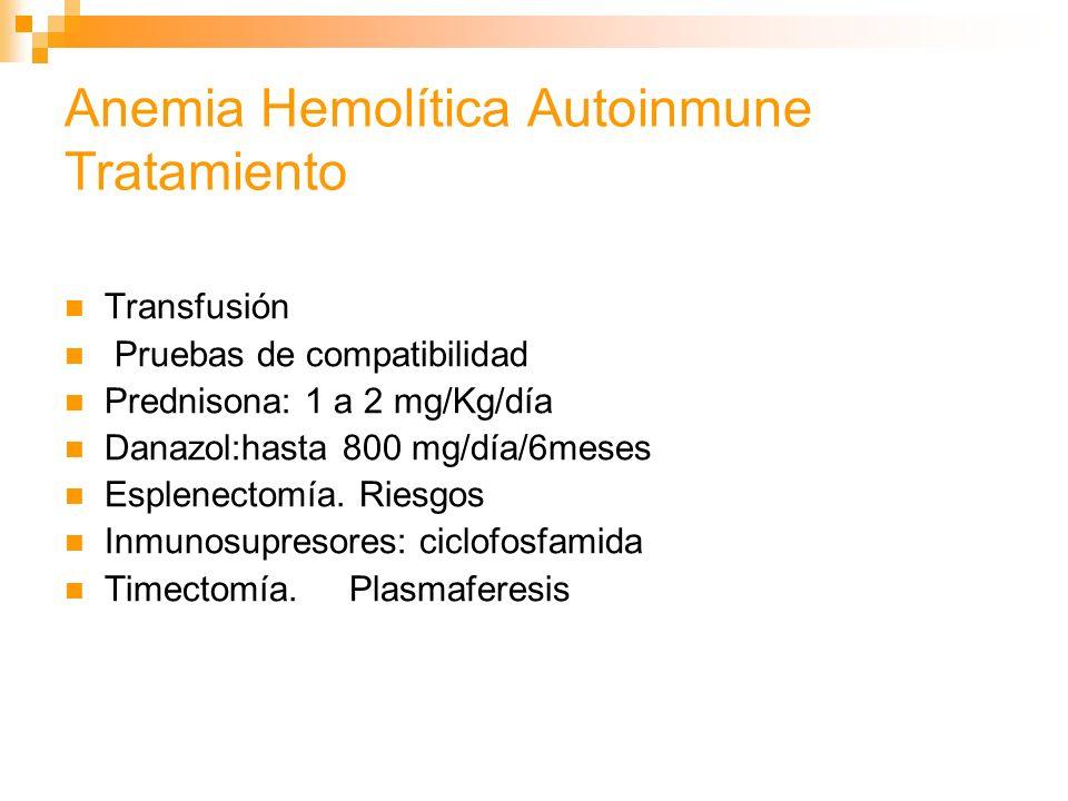 Anemia Hemolítica Autoinmune Tratamiento Transfusión Pruebas de compatibilidad Prednisona: 1 a 2 mg/Kg/día Danazol:hasta 800 mg/día/6meses Esplenectomía.