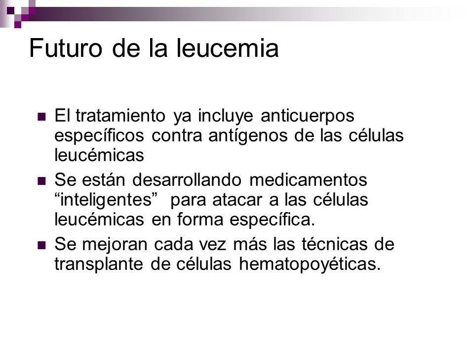 Futuro de la leucemia El tratamiento ya incluye anticuerpos específicos contra antígenos de las células leucémicas Se están desarrollando medicamentos inteligentes para atacar a las células leucémicas en forma específica.