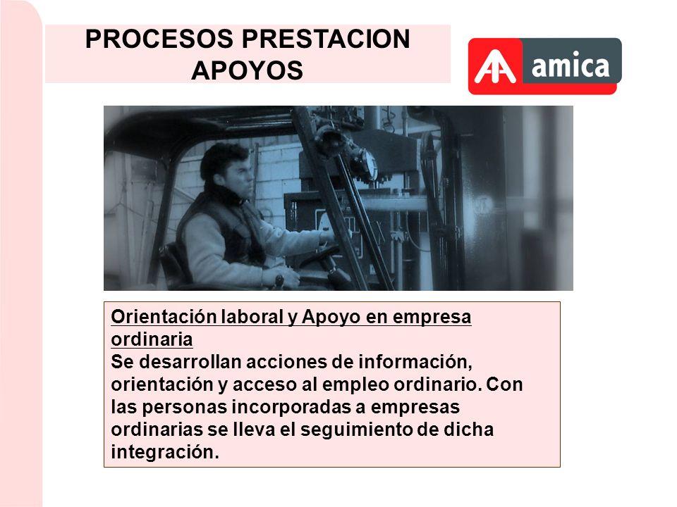 Orientación laboral y Apoyo en empresa ordinaria Se desarrollan acciones de información, orientación y acceso al empleo ordinario. Con las personas in