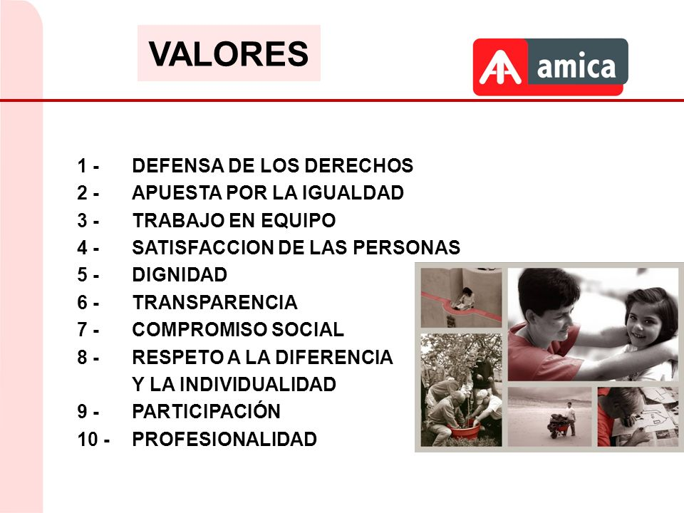 1 - DEFENSA DE LOS DERECHOS 2 - APUESTA POR LA IGUALDAD 3 - TRABAJO EN EQUIPO 4 - SATISFACCION DE LAS PERSONAS 5 - DIGNIDAD 6 - TRANSPARENCIA 7 - COMP