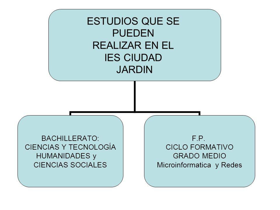 ESTUDIOS QUE SE PUEDEN REALIZAR EN EL IES CIUDAD JARDIN BACHILLERATO: CIENCIAS Y TECNOLOGÍA HUMANIDADES y CIENCIAS SOCIALES F.P. CICLO FORMATIVO GRADO