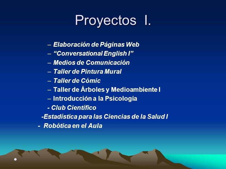 Proyectos I. –Elaboración de Páginas Web –Conversational English I –Medios de Comunicación –Taller de Pintura Mural –Taller de Cómic –Taller de Árbole