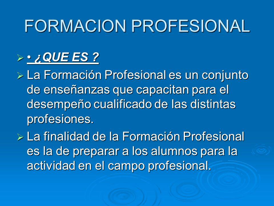 FORMACION PROFESIONAL ¿QUE ES ? ¿QUE ES ? La Formación Profesional es un conjunto de enseñanzas que capacitan para el desempeño cualificado de las dis