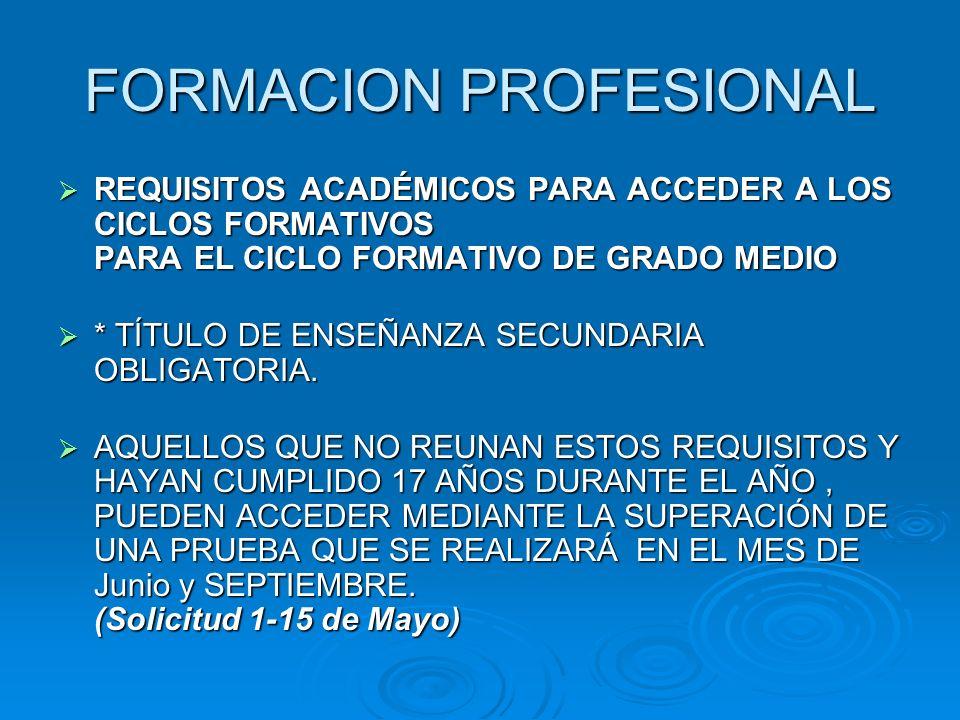 FORMACION PROFESIONAL REQUISITOS ACADÉMICOS PARA ACCEDER A LOS CICLOS FORMATIVOS PARA EL CICLO FORMATIVO DE GRADO MEDIO REQUISITOS ACADÉMICOS PARA ACC