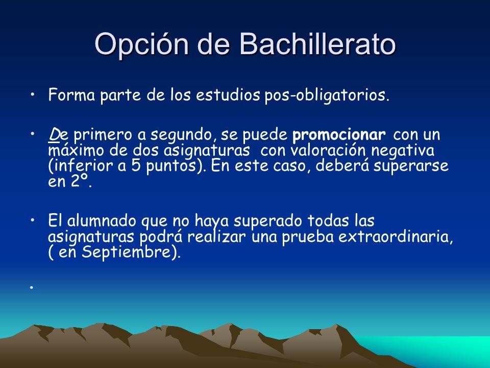 Opción de Bachillerato Forma parte de los estudios pos-obligatorios. De primero a segundo, se puede promocionar con un máximo de dos asignaturas con v