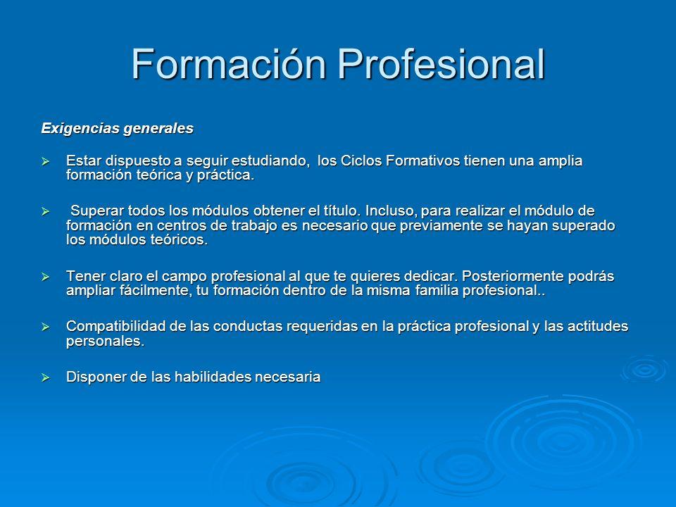 Formación Profesional Exigencias generales Estar dispuesto a seguir estudiando, los Ciclos Formativos tienen una amplia formación teórica y práctica.