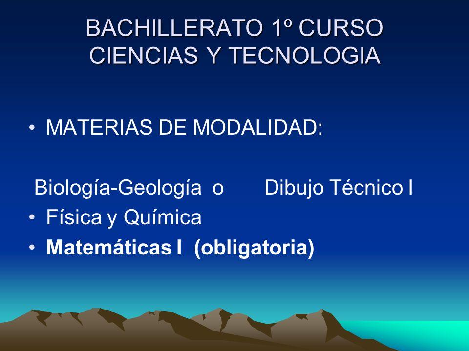 BACHILLERATO 1º CURSO CIENCIAS Y TECNOLOGIA MATERIAS DE MODALIDAD: Biología-Geología o Dibujo Técnico I Física y Química Matemáticas I (obligatoria)