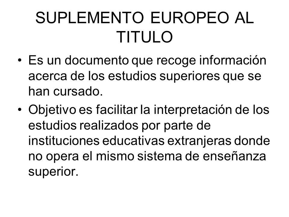 SUPLEMENTO EUROPEO AL TITULO Es un documento que recoge información acerca de los estudios superiores que se han cursado.