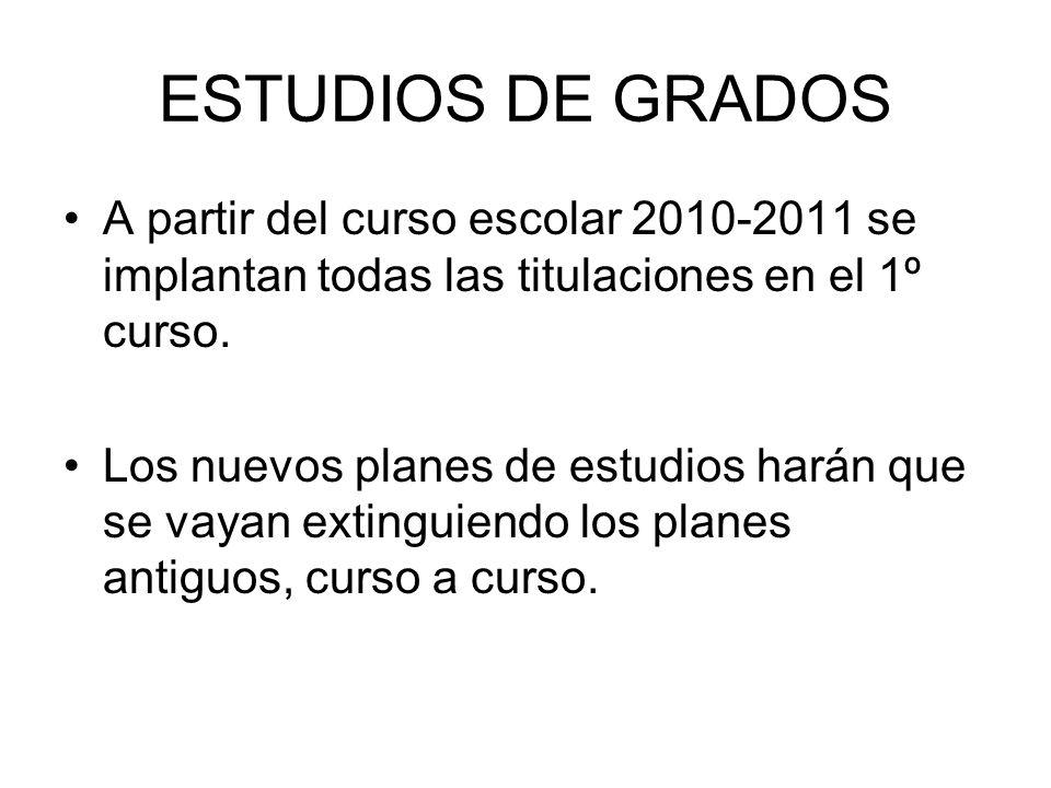 ESTUDIOS DE GRADOS A partir del curso escolar 2010-2011 se implantan todas las titulaciones en el 1º curso.