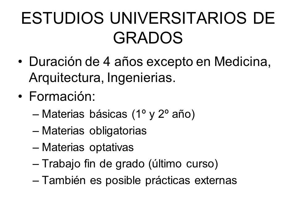 ESTUDIOS UNIVERSITARIOS DE GRADOS Duración de 4 años excepto en Medicina, Arquitectura, Ingenierias.