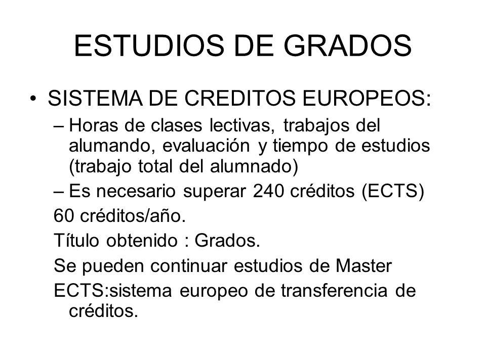 ESTUDIOS DE GRADOS SISTEMA DE CREDITOS EUROPEOS: –Horas de clases lectivas, trabajos del alumando, evaluación y tiempo de estudios (trabajo total del alumnado) –Es necesario superar 240 créditos (ECTS) 60 créditos/año.