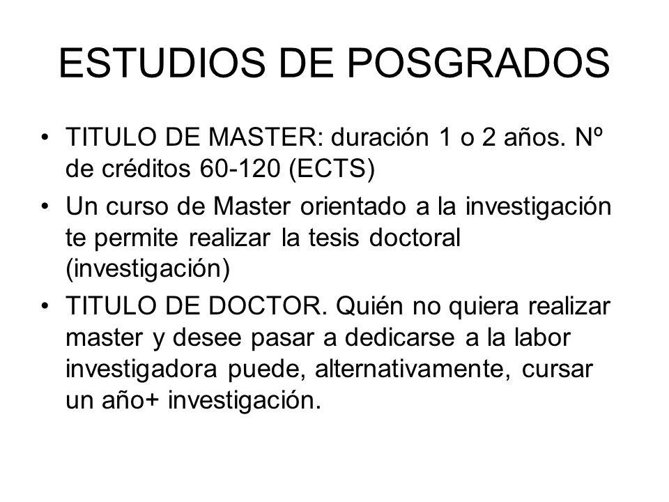 ESTUDIOS DE POSGRADOS TITULO DE MASTER: duración 1 o 2 años.