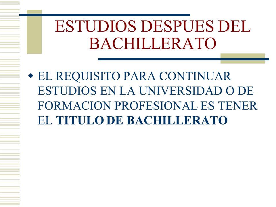 ESTUDIOS DESPUES DEL BACHILLERATO EL REQUISITO PARA CONTINUAR ESTUDIOS EN LA UNIVERSIDAD O DE FORMACION PROFESIONAL ES TENER EL TITULO DE BACHILLERATO
