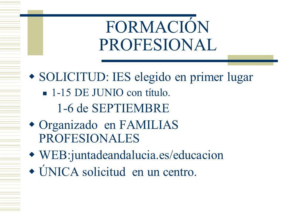 FORMACIÓN PROFESIONAL SOLICITUD: IES elegido en primer lugar 1-15 DE JUNIO con título. 1-6 de SEPTIEMBRE Organizado en FAMILIAS PROFESIONALES WEB:junt