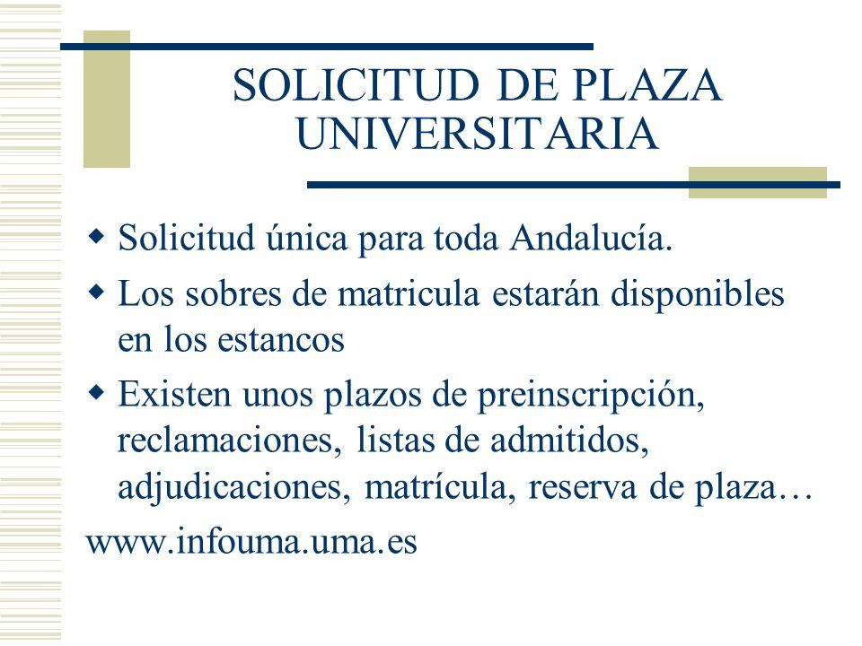 SOLICITUD DE PLAZA UNIVERSITARIA Solicitud única para toda Andalucía. Los sobres de matricula estarán disponibles en los estancos Existen unos plazos
