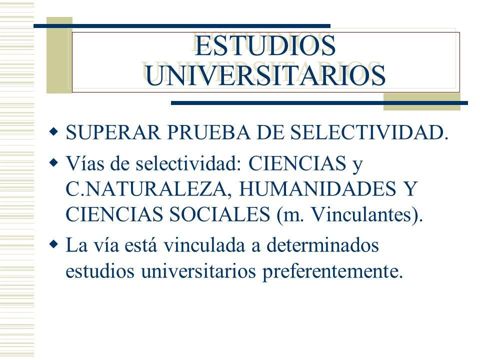 ESTUDIOS UNIVERSITARIOS SUPERAR PRUEBA DE SELECTIVIDAD. Vías de selectividad: CIENCIAS y C.NATURALEZA, HUMANIDADES Y CIENCIAS SOCIALES (m. Vinculantes