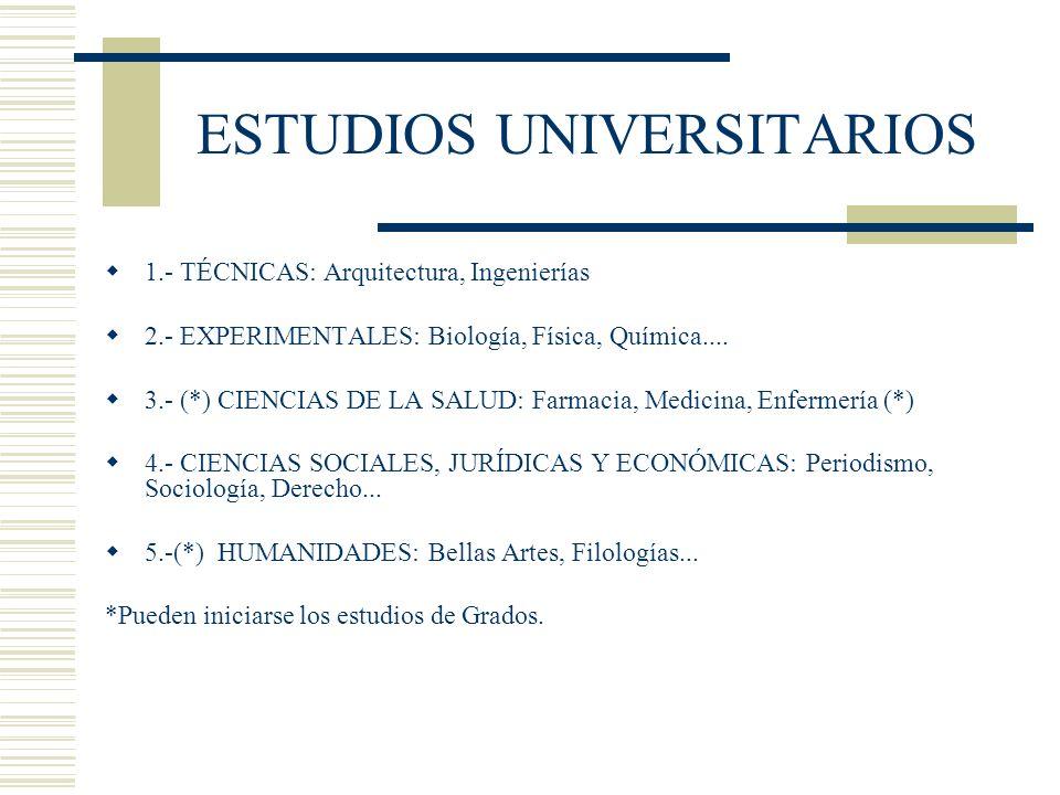 ESTUDIOS UNIVERSITARIOS 1.- TÉCNICAS: Arquitectura, Ingenierías 2.- EXPERIMENTALES: Biología, Física, Química.... 3.- (*) CIENCIAS DE LA SALUD: Farmac