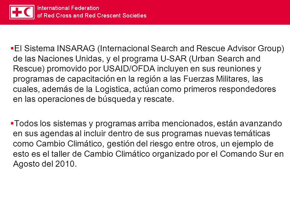 El Sistema INSARAG (Internacional Search and Rescue Advisor Group) de las Naciones Unidas, y el programa U-SAR (Urban Search and Rescue) promovido por