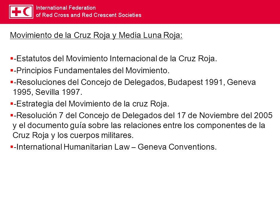 Movimiento de la Cruz Roja y Media Luna Roja: -Estatutos del Movimiento Internacional de la Cruz Roja. -Principios Fundamentales del Movimiento. -Reso
