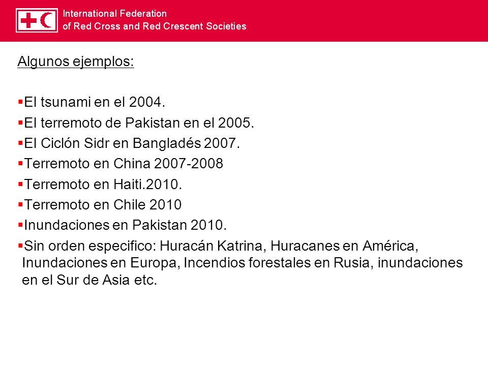 Algunos ejemplos: El tsunami en el 2004. El terremoto de Pakistan en el 2005. El Ciclón Sidr en Bangladés 2007. Terremoto en China 2007-2008 Terremoto