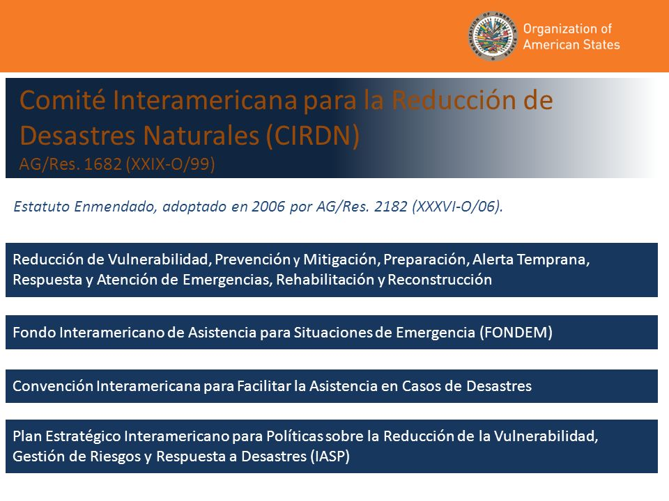 Reducción de Vulnerabilidad, Prevención y Mitigación, Preparación, Alerta Temprana, Respuesta y Atención de Emergencias, Rehabilitación y Reconstrucción Comité Interamericana para la Reducción de Desastres Naturales (CIRDN) AG/Res.