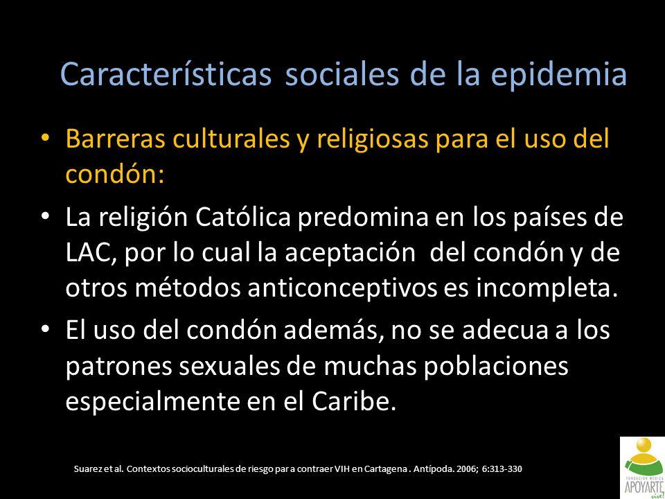 Barreras culturales y religiosas para el uso del condón: La religión Católica predomina en los países de LAC, por lo cual la aceptación del condón y de otros métodos anticonceptivos es incompleta.