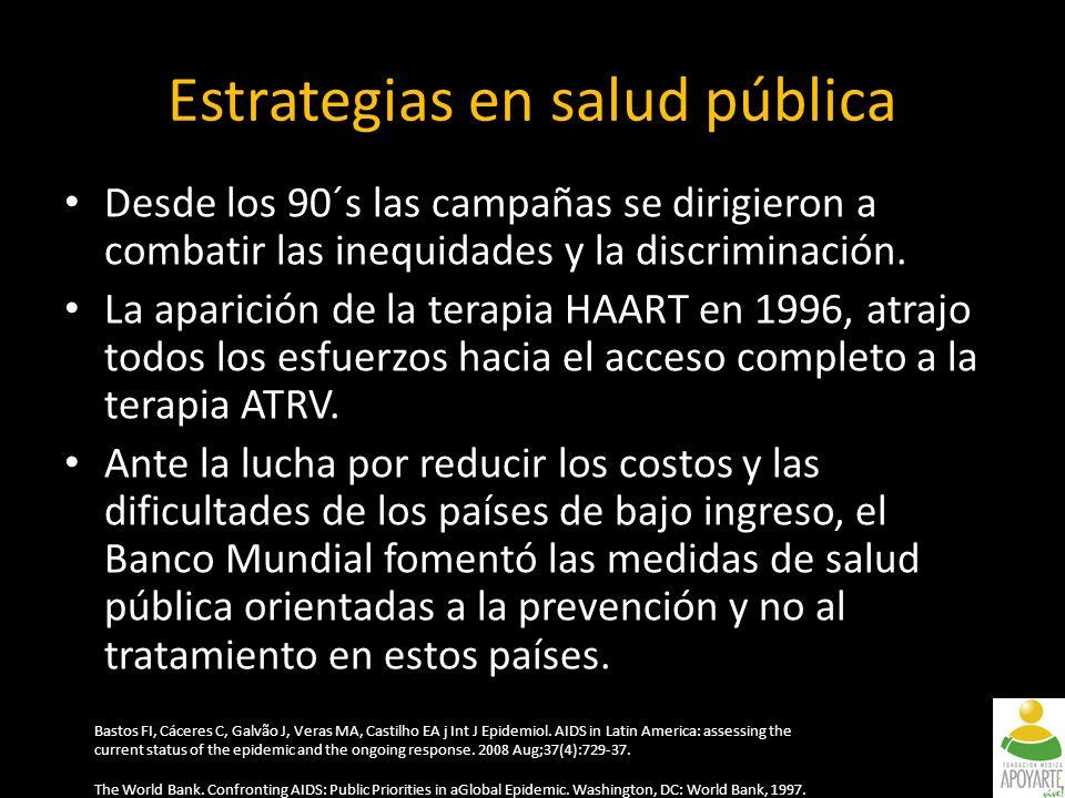 Estrategias en salud pública Desde los 90´s las campañas se dirigieron a combatir las inequidades y la discriminación.
