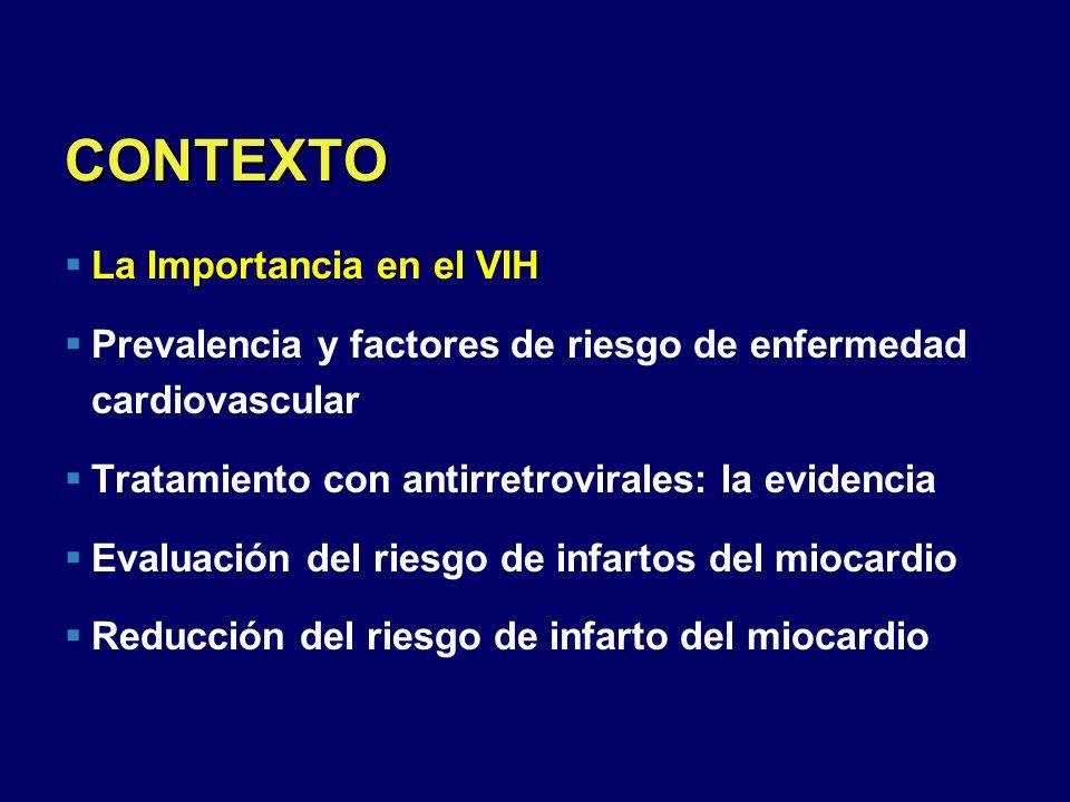 CONTEXTO La Importancia en el VIH Prevalencia y factores de riesgo de enfermedad cardiovascular Tratamiento con antirretrovirales: la evidencia Evalua