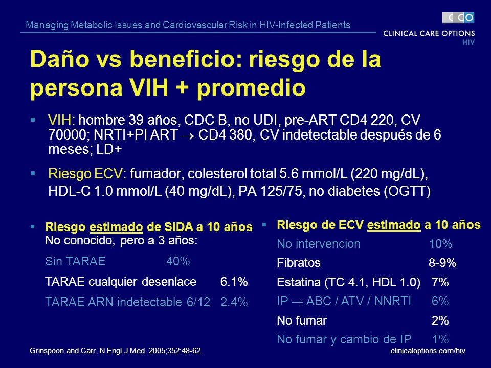 clinicaloptions.com/hiv Managing Metabolic Issues and Cardiovascular Risk in HIV-Infected Patients Daño vs beneficio: riesgo de la persona VIH + prome