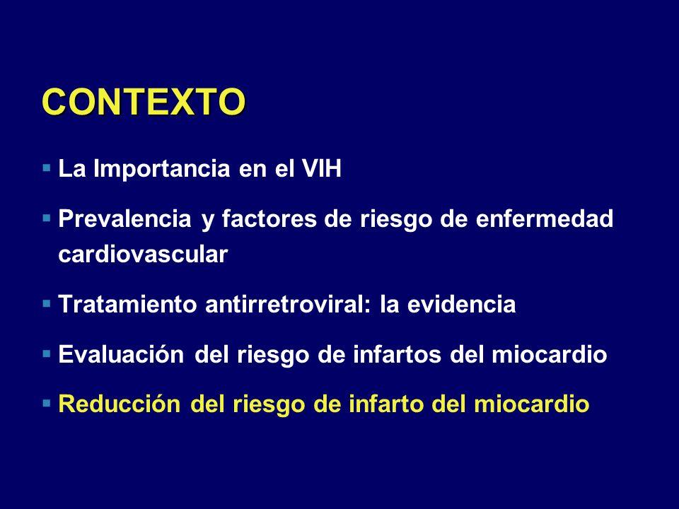 CONTEXTO La Importancia en el VIH Prevalencia y factores de riesgo de enfermedad cardiovascular Tratamiento antirretroviral: la evidencia Evaluación d