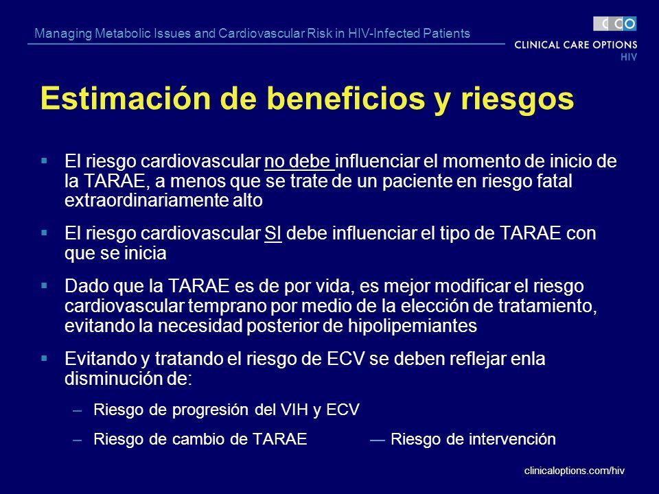 clinicaloptions.com/hiv Managing Metabolic Issues and Cardiovascular Risk in HIV-Infected Patients Estimación de beneficios y riesgos El riesgo cardio