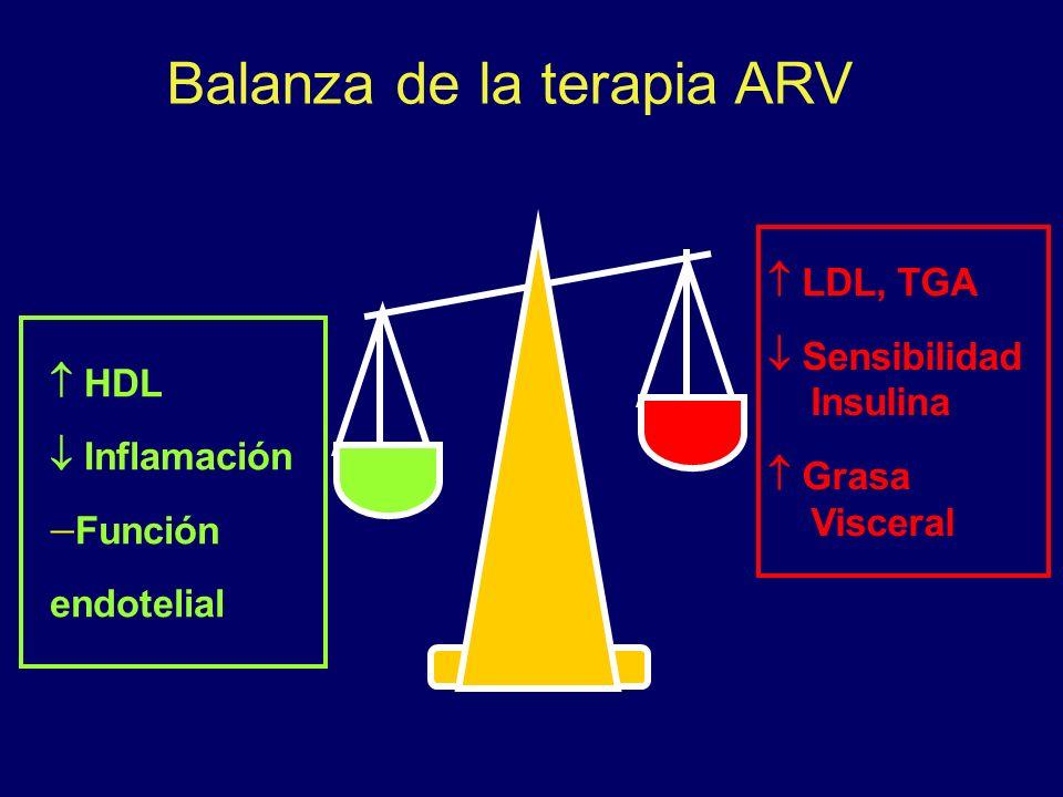 HDL Inflamación Función endotelial LDL, TGA Sensibilidad Insulina Grasa Visceral Balanza de la terapia ARV